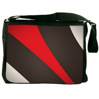 Snoogg Red And Brown Stripes Digitally Printed Laptop Messenger  Bag