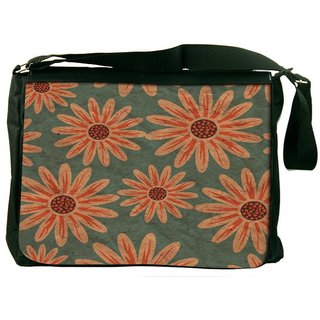 Snoogg Colorful Floral Pattern In Cartoon Style Texture With Flowers Endless Flora Designer Laptop Messenger Bag