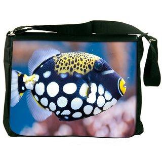 Snoogg Fish Animal Digitally Printed Laptop Messenger  Bag