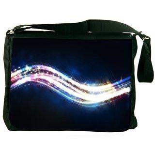 Snoogg Shiny Wave Digitally Printed Laptop Messenger  Bag