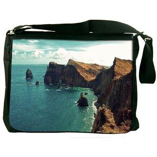 Snoogg Green Water Near Mountain Digitally Printed Laptop Messenger  Bag
