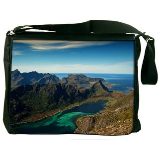 Snoogg River Side Mountain Digitally Printed Laptop Messenger  Bag