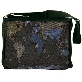 Snoogg Black And Golden Map Digitally Printed Laptop Messenger  Bag