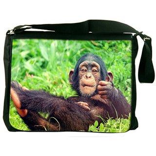 Snoogg Chimpanese Digitally Printed Laptop Messenger  Bag