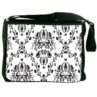 Snoogg Grey Pattern White Digitally Printed Laptop Messenger  Bag