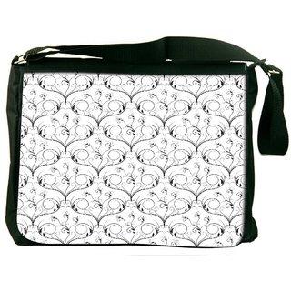 Snoogg V Shaped Floral Digitally Printed Laptop Messenger  Bag