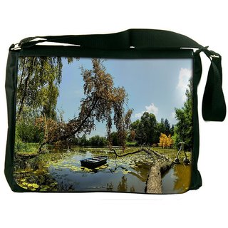 Snoogg Broked Tree On The River Digitally Printed Laptop Messenger  Bag