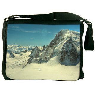 Snoogg Snow Mountains Digitally Printed Laptop Messenger  Bag