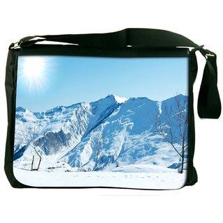 Snoogg Sun And Snow Digitally Printed Laptop Messenger  Bag