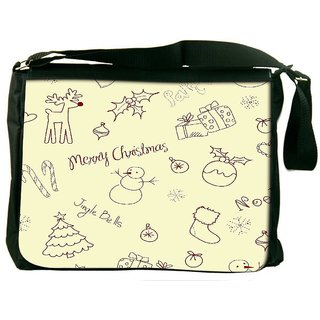 Snoogg Seasons Cream Pattern Digitally Printed Laptop Messenger  Bag