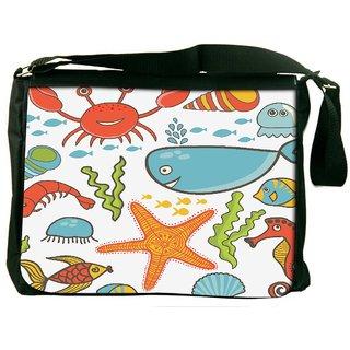Snoogg Sea World Digitally Printed Laptop Messenger  Bag