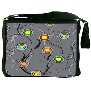 Snoogg Colorful Spots Grey Patern Digitally Printed Laptop Messenger  Bag