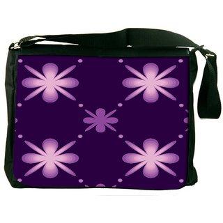 Snoogg Purple Floral Pattern Digitally Printed Laptop Messenger  Bag