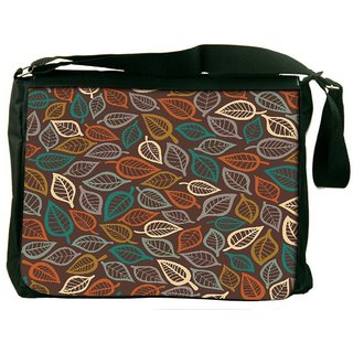 Snoogg Multicolor Leaves Digitally Printed Laptop Messenger  Bag