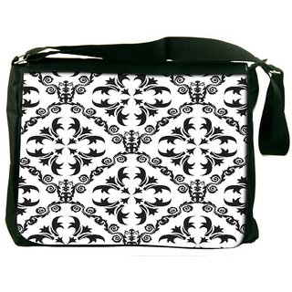 Snoogg Grey Pattern Digitally Printed Laptop Messenger  Bag