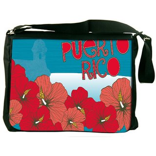Snoogg Puerto Rice Digitally Printed Laptop Messenger  Bag