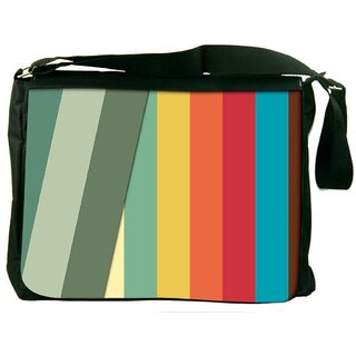 Snoogg Slant Multi Color Digitally Printed Laptop Messenger  Bag