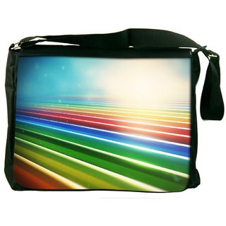 Snoogg Sunrise On Strips Digitally Printed Laptop Messenger  Bag