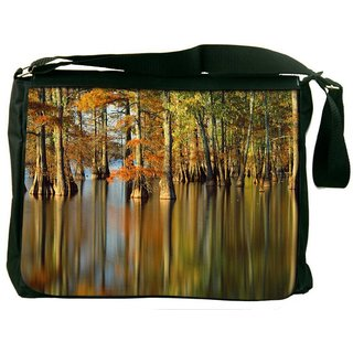 Snoogg Water In Forest Digitally Printed Laptop Messenger  Bag