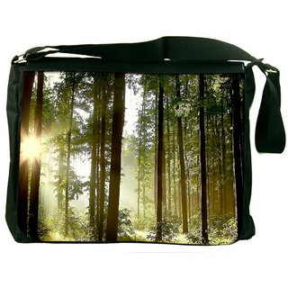 Snoogg Sunlight Forest Digitally Printed Laptop Messenger  Bag