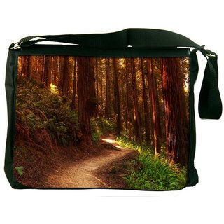 Snoogg Red Forest Digitally Printed Laptop Messenger  Bag