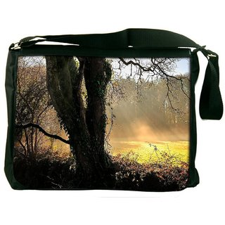Snoogg Small Garden In Forest Digitally Printed Laptop Messenger  Bag
