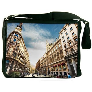 Snoogg Angled Building Digitally Printed Laptop Messenger  Bag