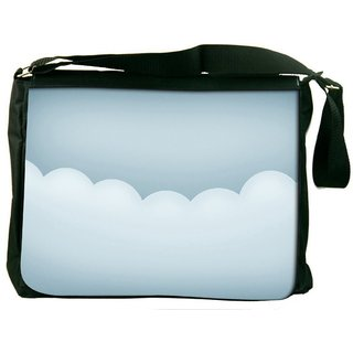 Snoogg White Clouds Digitally Printed Laptop Messenger  Bag