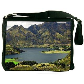 Snoogg Green Mountains Digitally Printed Laptop Messenger  Bag