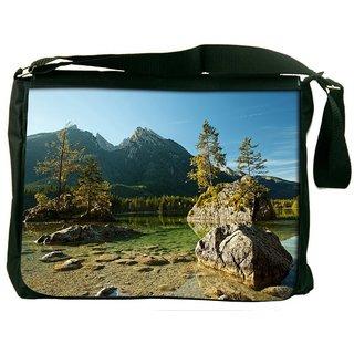 Snoogg Pond With Rocks Digitally Printed Laptop Messenger  Bag