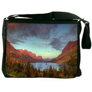 Snoogg Red Mountains Digitally Printed Laptop Messenger  Bag
