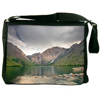 Snoogg River And Mountains Digitally Printed Laptop Messenger  Bag