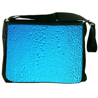 Snoogg Blue Water Drops Digitally Printed Laptop Messenger  Bag