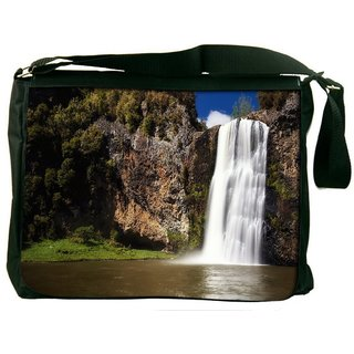 Snoogg White Waterfall Digitally Printed Laptop Messenger  Bag