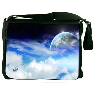 Snoogg Clouds And Earth Digitally Printed Laptop Messenger  Bag