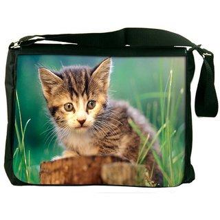 Snoogg Poor Kitty Digitally Printed Laptop Messenger  Bag