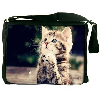 Snoogg Cat Praying Digitally Printed Laptop Messenger  Bag