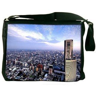 Snoogg Abstract Big City Digitally Printed Laptop Messenger  Bag