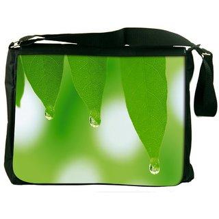 Snoogg Leaves Dew Drops Digitally Printed Laptop Messenger  Bag