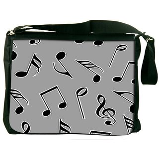 Snoogg Black Music Strings Digitally Printed Laptop Messenger  Bag