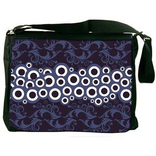 Snoogg White Circles Digitally Printed Laptop Messenger  Bag