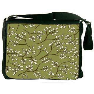 Snoogg White Leaves Pattern Green Digitally Printed Laptop Messenger  Bag