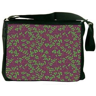 Snoogg Green Leaves Brown Pattern Digitally Printed Laptop Messenger  Bag