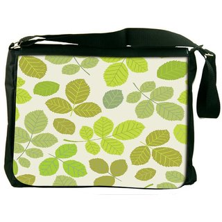 Snoogg Colorful Leaves Cream Pattern Digitally Printed Laptop Messenger  Bag