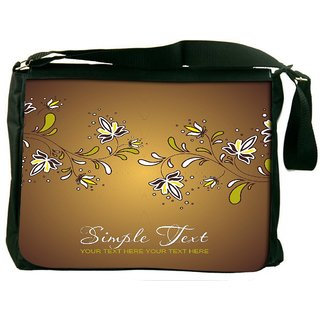 Snoogg Yellow Background With Flowers Digitally Printed Laptop Messenger  Bag