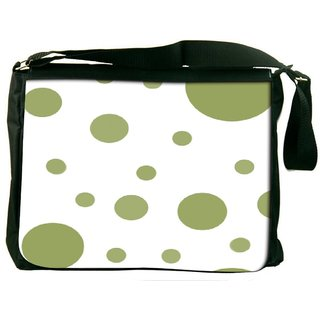 Snoogg Green Circles Digitally Printed Laptop Messenger  Bag