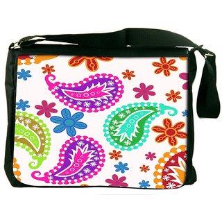 Snoogg Colorful White Pattern Digitally Printed Laptop Messenger  Bag
