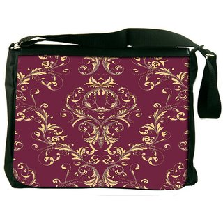 Snoogg Cream Pattern Brown Digitally Printed Laptop Messenger  Bag