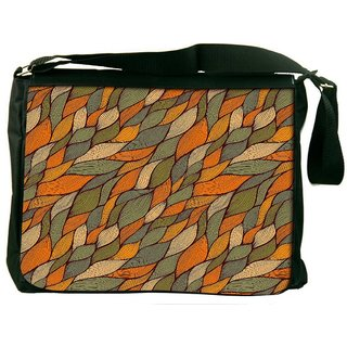 Snoogg Colorful Leaves Pattern Digitally Printed Laptop Messenger  Bag