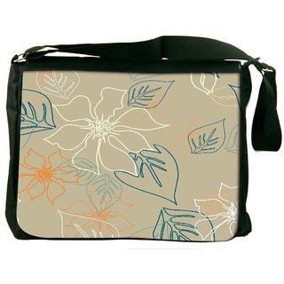 Snoogg Floral Sketch Cream Digitally Printed Laptop Messenger  Bag